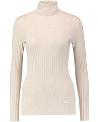 Tory Burch | Natural Ribbed Cotton Turtleneck Sweater | Lyst