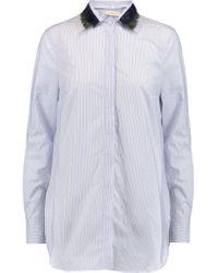 Tory Burch | Blue Feather-trimmed Striped Cotton-poplin Shirt | Lyst