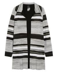 Norma Kamali | Gray Striped Tech-jersey Jacket | Lyst