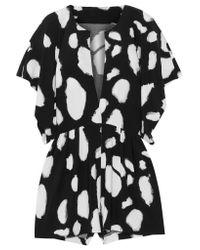 Norma Kamali Black Printed Stretch-jersey Playsuit