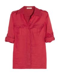 Tory Burch | Red Brigitte Linen Shirt | Lyst