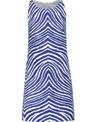 MILLY Blue Printed Stretch-cotton Mini Dress
