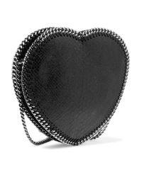 Stella McCartney Black Chain-trimmed Faux Snake-effect Leather Shoulder Bag