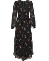 Zimmermann Floral-print Fil Coupé Silk-blend Chiffon Jumpsuit Black