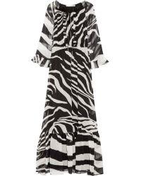 Diane von Furstenberg White Simonia Zebra-print Silk-chiffon Maxi Dress