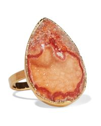 Dara Ettinger Multicolor Gold-tone Stone Ring