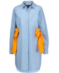 MSGM - Blue Stretch Cotton-blend Poplin Shirt Dress - Lyst