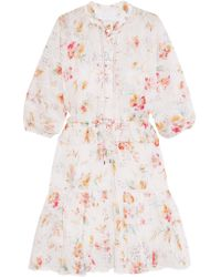 Zimmermann White Belle Printed Broderie Anglaise Cotton-voile Dress