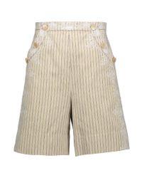 Zimmermann - Natural Master Adorn Embellished Striped Twill Shorts - Lyst