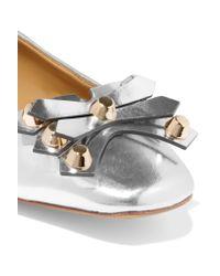 Tory Burch - Aurora Embellished Metallic Leather Ballet Flats - Lyst