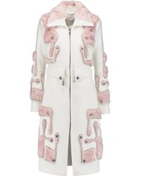 Peter Pilotto White Tetris Wool And Mohair And Cotton-blend Coat