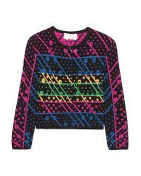 Peter Pilotto Multicolor Galaxy Cutout Jacquard-knit Cardigan