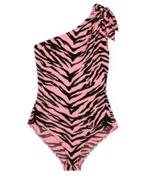 Boutique Moschino - Pink One-shoulder Tiger-print Stretch-crepe Bodysuit - Lyst