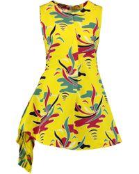 Marni - Yellow Chiffon-paneled Printed Cotton And Linen-blend Twill Mini Dress - Lyst