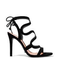 Schutz Black Lacie Cutout Suede Sandals