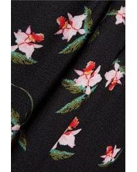 Preen By Thornton Bregazzi Black Aaron Daffodil-print Gathered Crepe Dress