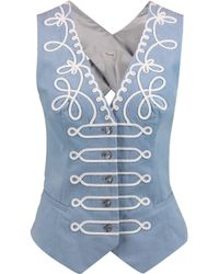 Temperley London Voyage Embroidered Cotton-blend Twill Gilet Sky Blue