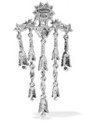 Oscar de la Renta - Metallic Tulip Silver-tone Crystal Brooch - Lyst