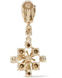Oscar de la Renta - Metallic Gold-tone Crystal Clip Earrings - Lyst