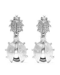 Oscar de la Renta | Metallic Silver-tone, Crystal And Faux Pearl Earrings | Lyst