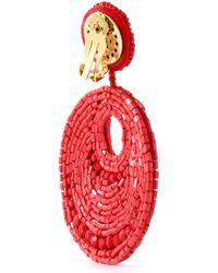 Kenneth Jay Lane - Red Beaded Gold-tone Clip Earrings - Lyst
