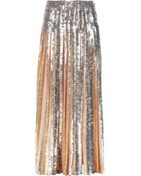 Emilio Pucci Multicolor Pleated Sequin-embellished Crepe Maxi Skirt