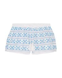 Melissa Odabash | Blue Carolina Embroidered Cotton Shorts | Lyst