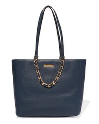 MICHAEL Michael Kors Blue Chain-embellished Textured-leather Tote
