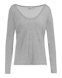Vince | Gray Two-tone Layered Pima Cotton And Modal-blend Top | Lyst