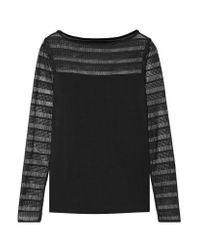 Bailey 44 | Black Lace-paneled Sttretch-jersey Top | Lyst