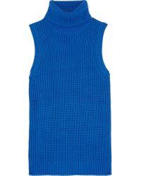 MICHAEL Michael Kors | Blue Ribbed Cotton-blend Turtleneck Top | Lyst