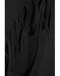 DKNY - Black Fringed Cotton-blend Poncho - Lyst