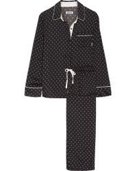 DKNY Black Printed Satin Pajama Set