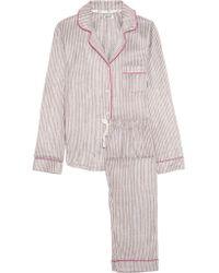 DKNY Multicolor Striped Fleece Pajama Set