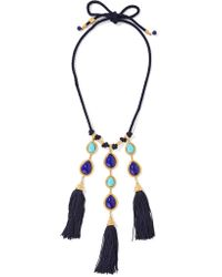 Ben-Amun | Blue Braided Cord, Stone And Gold-tone Necklace | Lyst