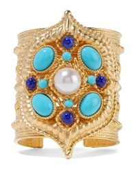 Ben-Amun | Metallic Gold-plated, Enamel And Faux Pearl Cuff | Lyst
