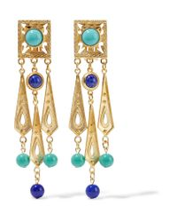 Ben-Amun Metallic Gold-plated, Bead And Stone Clip Earrings