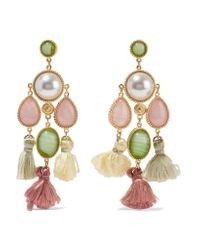 Ben-Amun Metallic Gold-plated, Faux Pearl, Stone And Tassel Earrings