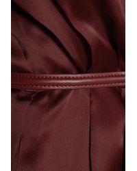 Raoul Red Asheville Rosette Pleated Embellished Silk-taffeta Dress
