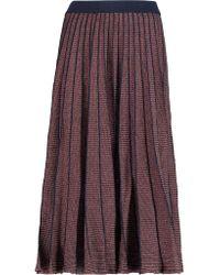 Tanya Taylor Multicolor Pleated Metallic Stretch-knit Midi Skirt