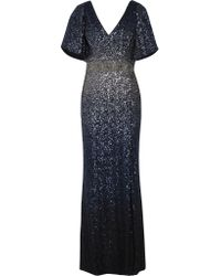 Notte by Marchesa Blue Sequined Tulle Gown