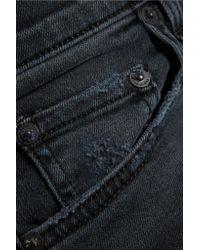 Rag & Bone Blue Ultra Capri Distressed Mid-rise Skinny Jeans