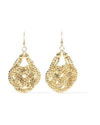 Kenneth Jay Lane | Metallic Woven Gold-tone Bead Earrings | Lyst