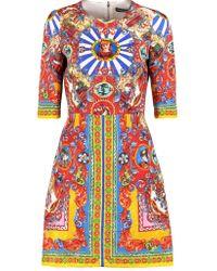 Dolce & Gabbana Red Jacquard Dress