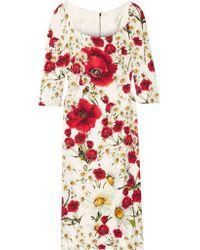 Dolce & Gabbana White Floral-print Crepe Dress