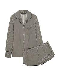 Three J Nyc Black Jane Striped Silk Pajama Set