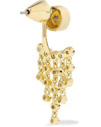 Noir Jewelry Metallic 14-karat Gold-plated Crystal Earrings Gold