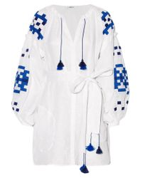 MARCH11 White Gutsul Belted Embroidered Linen Mini Dress
