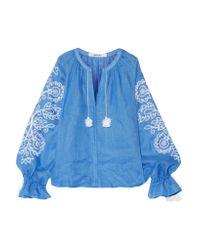 MARCH11 Blue Garden Tasseled Embroidered Linen Top