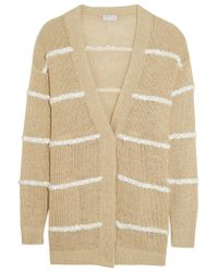 Brunello Cucinelli - Natural Embellished Hemp, Linen And Silk-blend Cardigan - Lyst